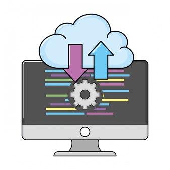 Technology computing screen cartoon
