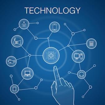 技術コンセプト、青い背景。スマートホーム、フォトカメラ、タブレットコンピューター、スマートフォンのアイコン