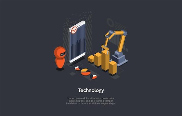 Технологический концептуальный дизайн. мультяшный 3d стиль, изометрические векторные иллюстрации с текстом. автоматизированные робототехнические машины, упрощающие рабочий процесс. смартфон с графиками, робот, механизм, инфографика
