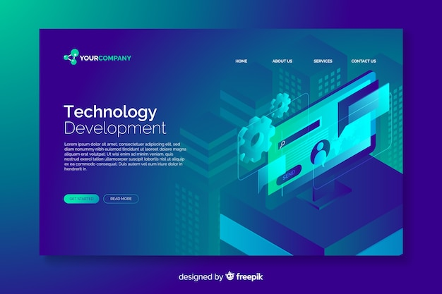 Technology concept digital landing page