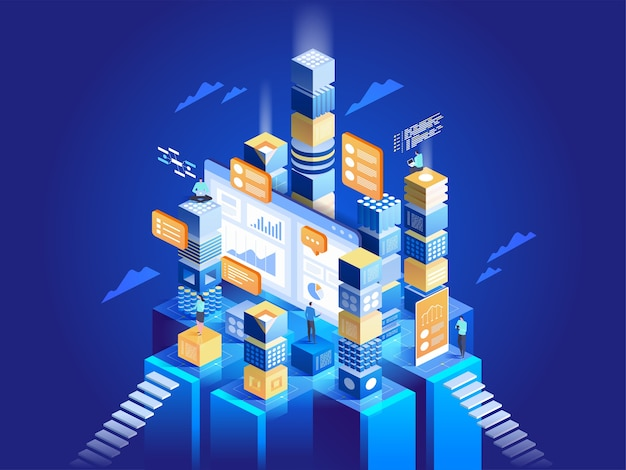 Technology concept of digital marketing and app development. people interacting with charts and analysing statistics. data visualisation.  isometric  illustration.