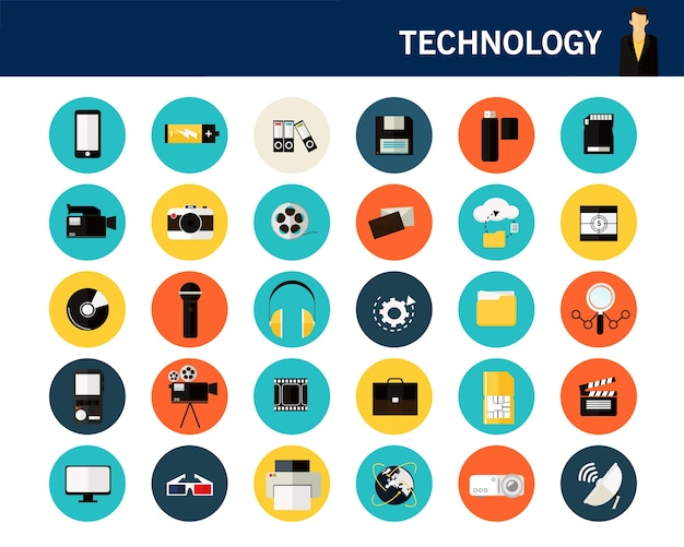 Technology concept flat icons.