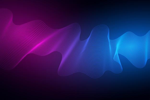 技術コンセプト。幾何学的な抽象的な背景。暗い背景に色付きの動的波