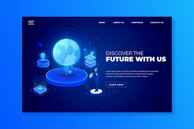 Technology concept landing page template