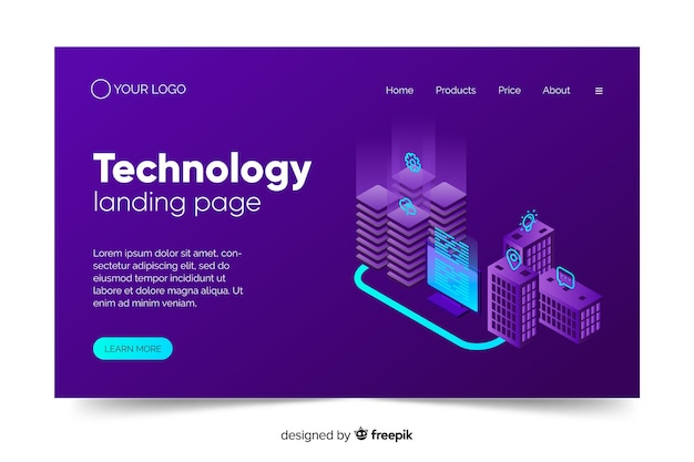 Technology concept landing page in violet shades