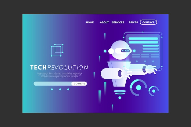 Technology concept landing page with gradient
