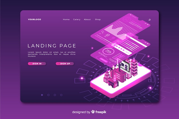 Technology concept landing page