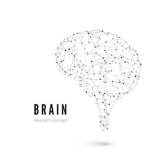 기술 개념, 입자 및 선. 선과 점이있는 인공 지능의 다각형 뇌 모양. 삽화