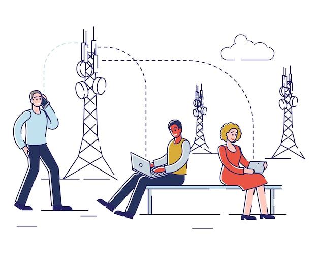 技術コンセプト。人々は通信とガジェットに高速インターネット技術を使用しています。