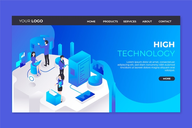 Technology concept template landing page