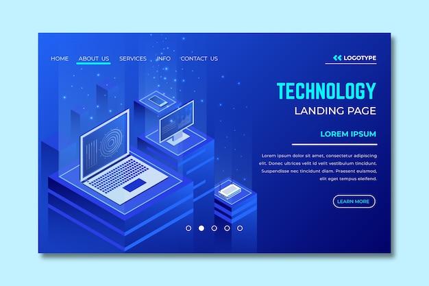 Pagina di destinazione del modello di concetto di tecnologia