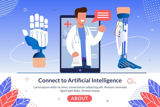 Technology connect to artificial intelligence web banner