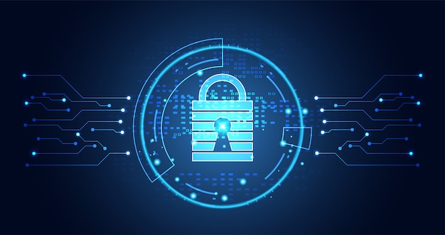 Technology cyber security privacy information network concept padlock