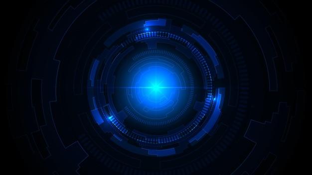 Технология темно-синий фон с высокотехнологичным подключением цифровых данных.