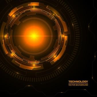 하이테크 디지털 데이터 연결 기술 어두운 주황색 배경.