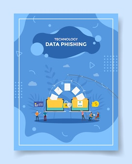 Technology data phishing concept people around fishing paper data on laptop