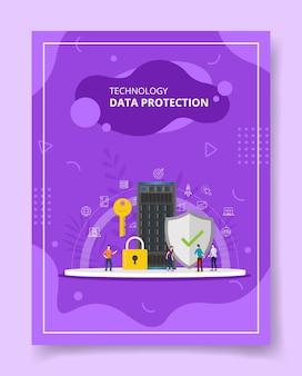 키 자물쇠 방패 서버 템플릿 주위에 서있는 기술 데이터 보호 사람들