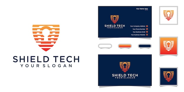Technology data security logo and business card inspiration