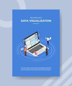 Visualizzazione dei dati tecnologici persone in piedi seduto sul laptop per volantino modello