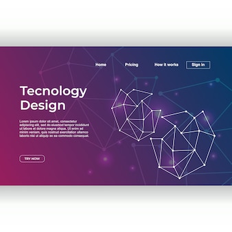 Technology design of landing page template with neuron gradient