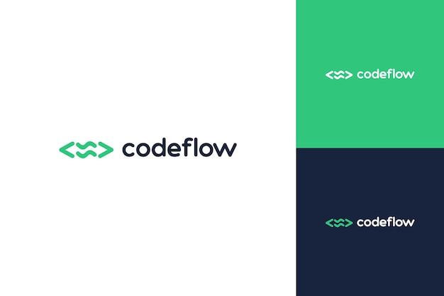 기술 개발자 디자인 로고 또는 파도가 있는 코드