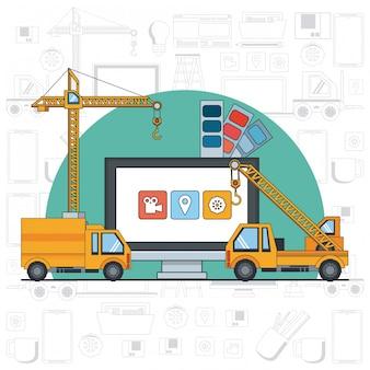 Technology device maintenance support cartoon