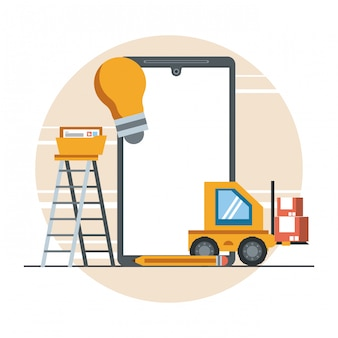 Technology device maintenance support concept cartoon