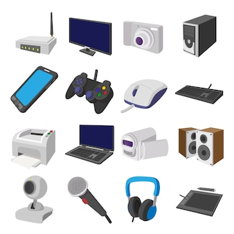 Technology and devices cartoon icons set isolated vector