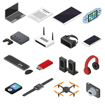 Технологические устройства цветные иконки изометрический вид электронного оборудования, гаджет для веб-сайтов и приложений. векторная иллюстрация