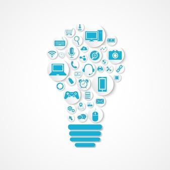 Значок технологических устройств в форме лампочки