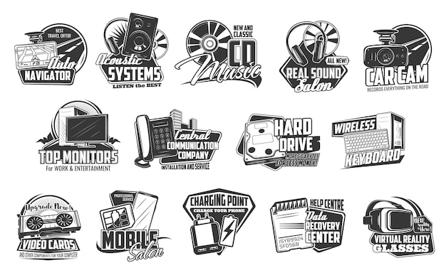 Technology devices icons, computers, smart appliances and electronics, vector. digital smart gadgets, smartphone charger point, sd card data recovery, computer monitors and telecommunication company