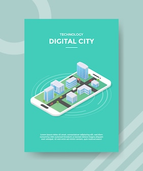 Technology digital city building on smartphone flyer template