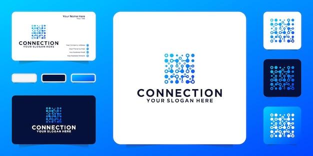 기술 디지털 연결 로고 디자인 영감 및 명함 영감