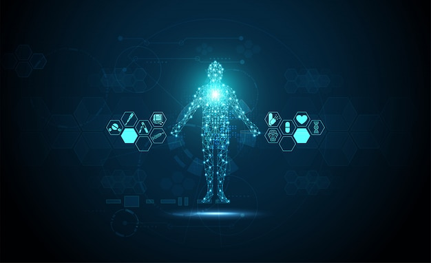 Technology digital health medical concept human digital medical background