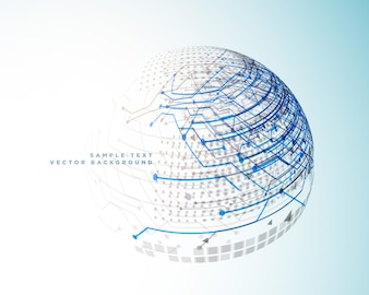 Technology digital lines in 3d sphere style