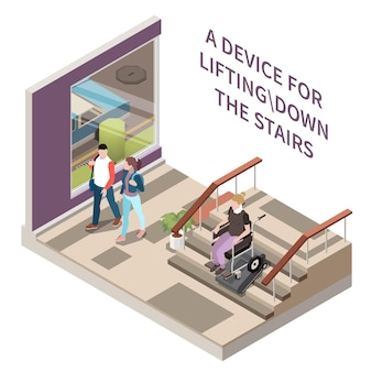 Technology for disabled people isometric composition