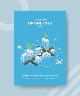 거리 건물에 비행 기술 무인 도시 개념 무인 항공기