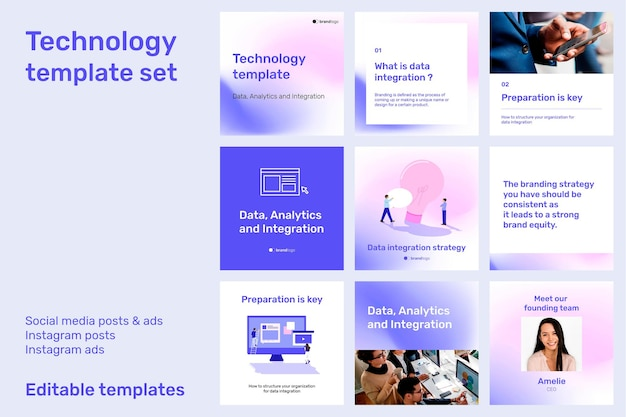 Technology  editable template set