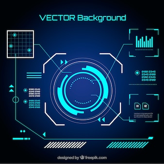 Technology elements background in flat style Free Vector