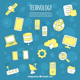 Technology elements background in hand drawn style