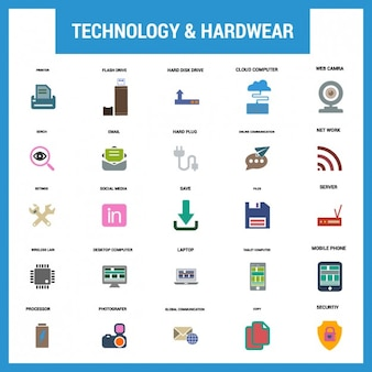 Technology fat icon set