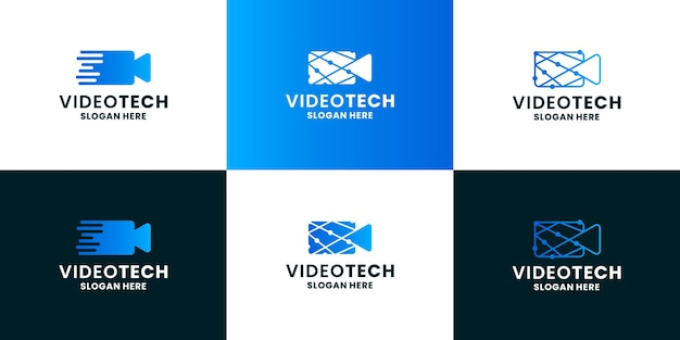 Technology for film logo design. camera video icon combine with technology concept