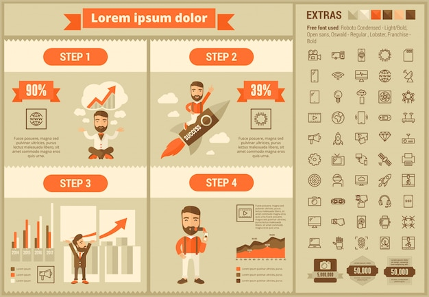 Technology flat design infographic template and icons set