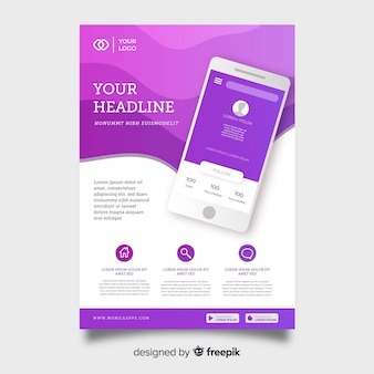 Technology flyer template with smartphone