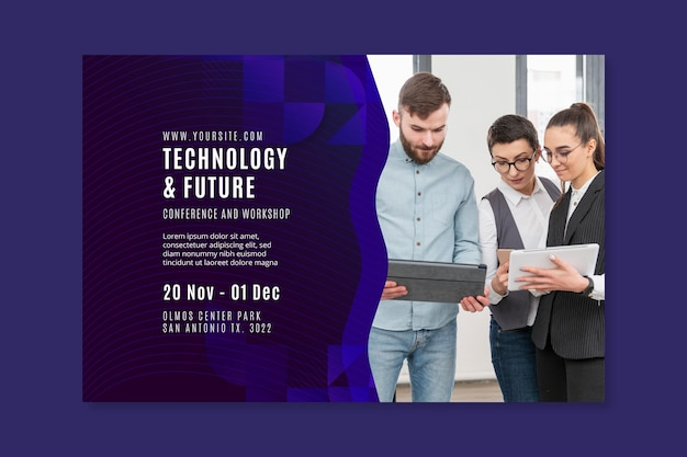Technology and future business banner web template