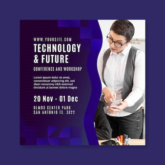 Technology and future business square flyer