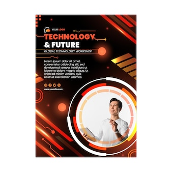 Шаблон флаера о технологиях и будущем
