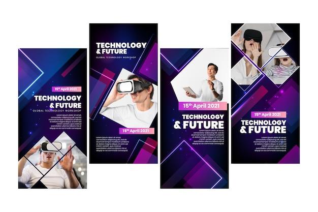 Tecnologia e storie future su instagram Vettore gratuito