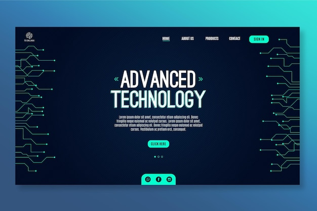 Technology and future landing page template