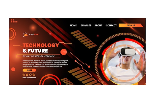 Tecnologia e pagina di destinazione futura